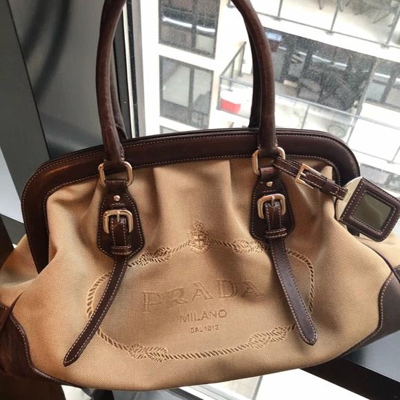 33984d4c241 Prada Bags | Brown Jacquard Canvas Leather Doctor Handbag | Poshmark